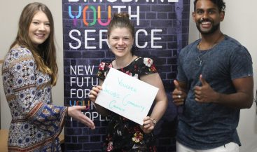 Jacobs present Brisbane Youth Service with voucher for TV purchase