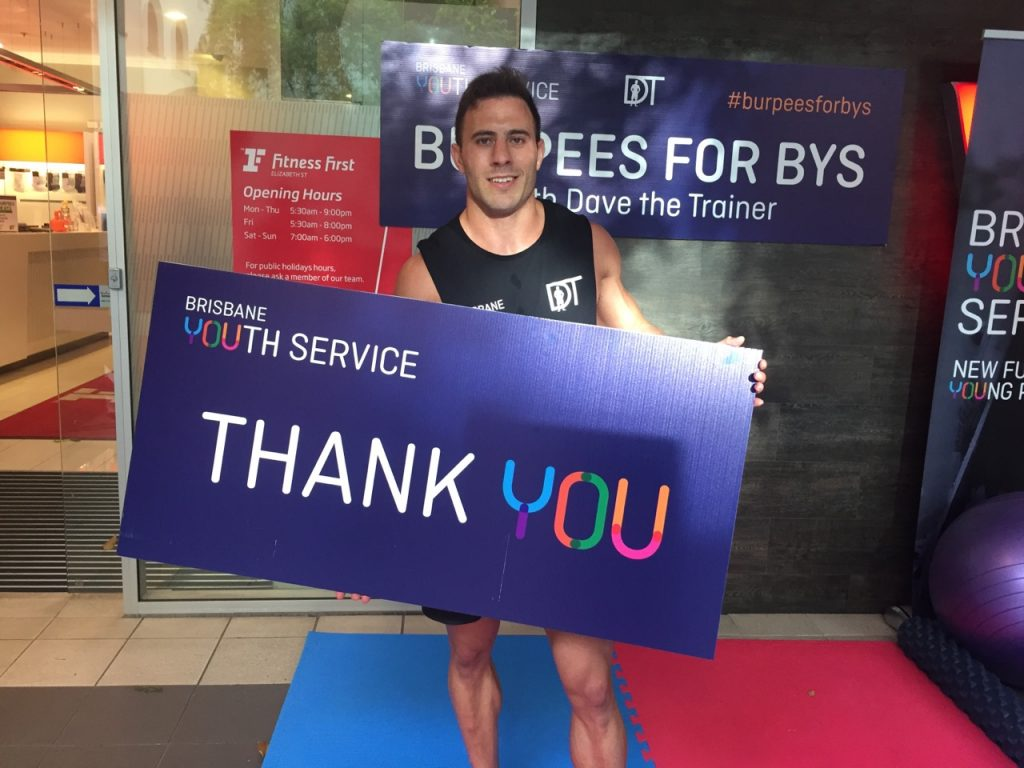 Burpees for BYS 2018 Dave the Trainer Brisbane Youth Service