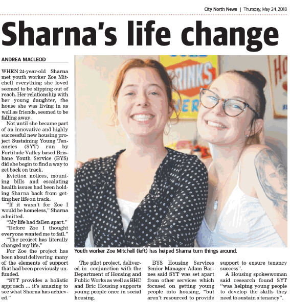 Brisbane Youth Service Quest article